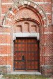 Legno antico con la porta di marrone del metallo Immagine Stock