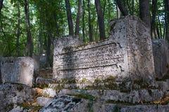 legno antico delle pietre tombali Fotografia Stock Libera da Diritti