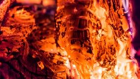 Legno bruciante nella fornace Fotografie Stock Libere da Diritti