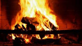 Legno bruciante in un camino archivi video
