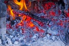 Legno bruciante in una stufa Immagine Stock