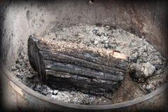 Legno bruciato Immagini Stock