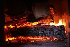 Legno Burning Fotografie Stock