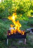 Legno Burning in un addetto alla brasatura Forte fuoco nella griglia immagine stock