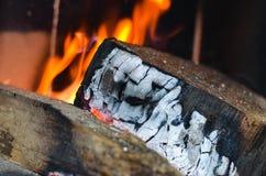 Legno che brucia sul fuoco Immagine Stock