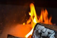 Legno che brucia sul fuoco Immagini Stock Libere da Diritti