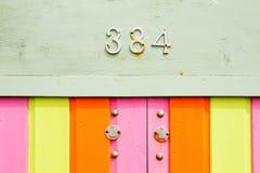 Legno colorato, con il buco della serratura Fotografia Stock Libera da Diritti