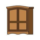 Legno del guardaroba retro Mobilia per i vestiti gabinetto d'annata vecchio illustrazione di stock