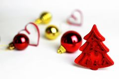 Legno dell'albero della decorazione di Natale Fotografie Stock Libere da Diritti
