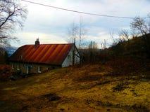 Legno della casa sull'albero del cielo di colore Immagine Stock