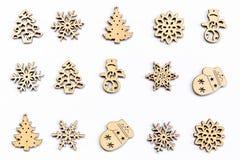 Legno della decorazione di Natale su bianco isolato Orna il natale Fotografia Stock Libera da Diritti