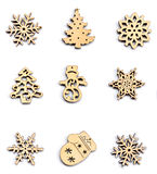 Legno della decorazione di Natale su bianco isolato Orna il natale Immagini Stock Libere da Diritti