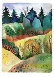Legno della foresta del paesaggio dell'acquerello illustrazione vettoriale