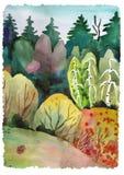 Legno della foresta del paesaggio dell'acquerello illustrazione di stock