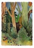 Legno della foresta del paesaggio dell'acquerello con i animalls illustrazione di stock