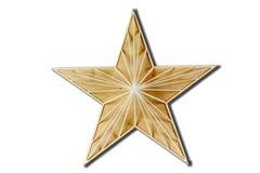 Legno della stella Decorazione per una casa fatta di legno Su una priorità bassa bianca Fotografie Stock Libere da Diritti