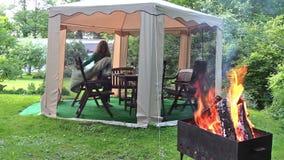 Legno di fuoco senza fiamma sulla griglia Resto della donna in gazebo in parco verde stock footage