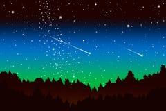 Legno di pino alla notte con una stella cadente illustrazione vettoriale