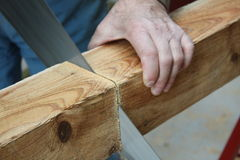 Legno di Sawing Fotografia Stock