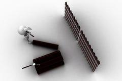 legno di taglio dell'uomo 3d con l'ascia Fotografie Stock