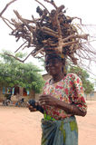 Legno di trasporto della donna africana Fotografie Stock Libere da Diritti
