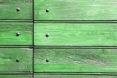 Legno e chiodi verdi Fotografia Stock