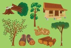 Legno ed illustrazione di vettore del prodotto di silvicoltura royalty illustrazione gratis