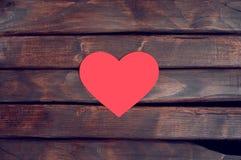 Legno rosso del cuore Fotografia Stock
