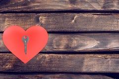 Legno rosso del cuore Immagine Stock Libera da Diritti