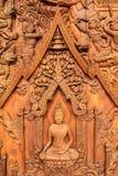 Legno-scultura del Buddha fotografia stock libera da diritti