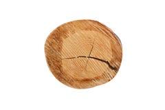 Legno segato tronco circolare con la vista di zenit cracked Isolato su priorità bassa bianca Immagini Stock