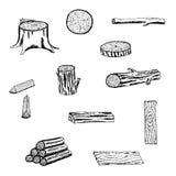 Legno, tronchi, ceppo, bordi, legna da ardere per silvicoltura ed industria del legname illustrazione vettoriale