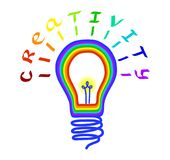 lego χεριών δημιουργικότητας έννοιας οικοδόμησης επάνω στον τοίχο Λογότυπο λαμπών φωτός με την εγγραφή Έννοια ή δημιουργική σκέψη απεικόνιση αποθεμάτων