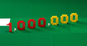 1,000,000 Lego. 1,000,000 number made up from LEGO colored toy blocks Stock Photography