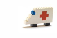 Lego Ambulance car. Ambulance car with red cross made from LEGO Royalty Free Stock Photo