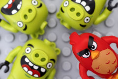 Lego Angry Birds. Red and three bad piggies Royalty Free Stock Photography