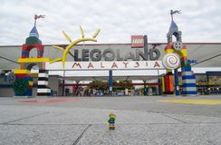 Lego backpacker man in front legoland malaysia royalty free stock image