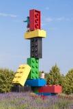 Lego blockiert Skulptur beim Legoland Deutschland Stockbilder