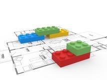 Lego blocks. Illustration of lego blocks on floor plan Royalty Free Stock Photo