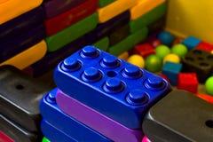 Lego blocks on the children`s playgroud. stock photo