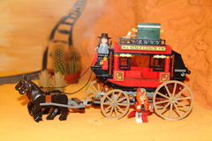 Lego blocks Stage coach. Stage coach done from lego blocks in the scenery Royalty Free Stock Images