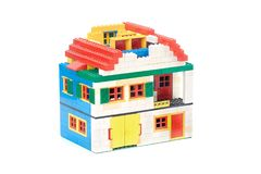 Lego Brick House. BUDAPEST, HUNGARY - OCTOBER 29, 2017: Lego house made of classic building blocks under construction, roof unfinished stock photo