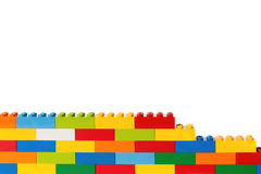 Lego brick wall. In many colors Stock Photo