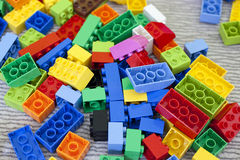 Lego bricks. Lego toy colour box on the carpet Royalty Free Stock Photos