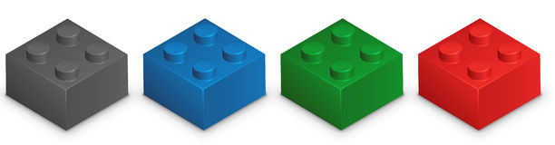 Building Bricks Illustration In Different Colors Over White Background Stock Image