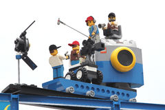 Lego Camera Crew på Legoland Arkivfoton