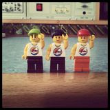 LEGO Captains. Fun with legos at school...building a party design with them stock photography