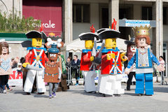 Lego characters. San Giovanni in persiceto,Bologna,Italy-march 9,2014:people dressed as characters from Lego celebrate the Carnival in a sunny day and festivity Royalty Free Stock Image