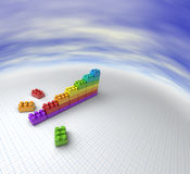 Lego chart. 3D illustration of a chart made with lego like blocks Royalty Free Stock Images