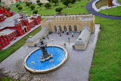 Lego city. Legoland Florida - historical house and water fountain royalty free stock photography